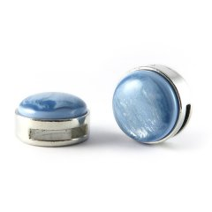 Slider zilver met cabochon blue cloud pearl shine