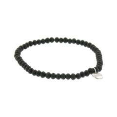 Facetarmband kleur mat zwart 4mm