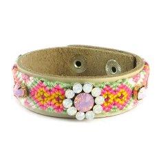 Ibiza armband lichtgroen roze