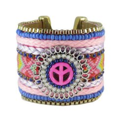 Ibiza armband breed roze blauw