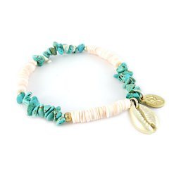 ibiza armband turquoise steentjes schelp