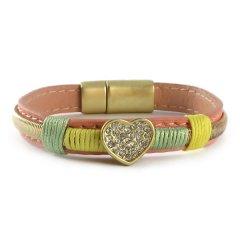 Ibiza beach armband roze geel met hart