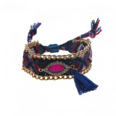 geknoopte ibiza armband kleur blue fuchsia