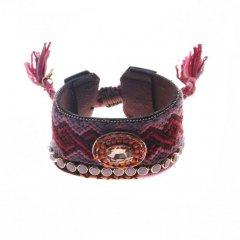geknoopte ibiza armband breed kleur purple pink