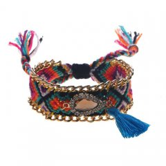 geknoopte ibiza armband kleur blue orange