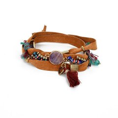 leren wikkel armband kleur bruin