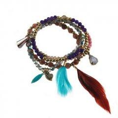 kralenset armband kleur golden purple