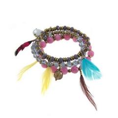 kralenset armband kleur purple pink