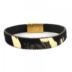 Leren armband kleur black gold