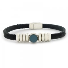 Leren armband black blue