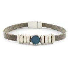 Leren armband lightgrey blue