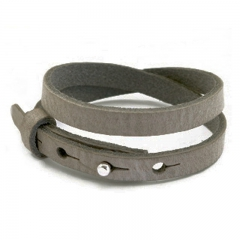 Smalle leren armband dubbel kleur mel grey