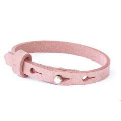 Smalle leren armband misty rose