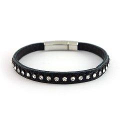 Leren armband swarovski black