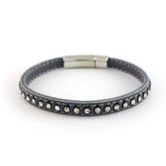 Leren armband swarovski grey