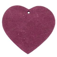 Leren hart voor aan een tas hanger kleur aubergine red