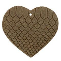 Leren hart 5 bij 5 cm in de kleur coffee brown