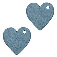 Smalle leren hart kleur legion blue