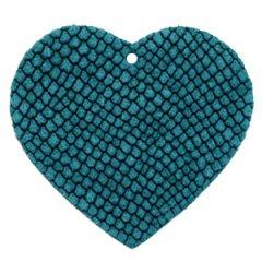 Leren hart in de kleur turquoise blue