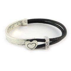 love armband zilver met hart zwart