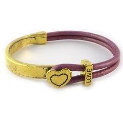 Love armband goud metallic roze hart