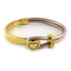 Love armband goud oud roze hart