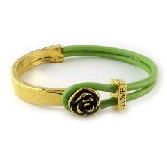 love armband goud peridot green bloem