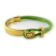 love armband goud peridot green hart