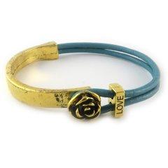 love armband goud petrol blue bloem