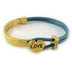 love armband goud petrol blue hart love