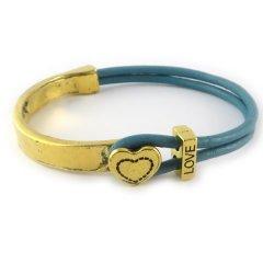 Love armband goud petrol blue hart