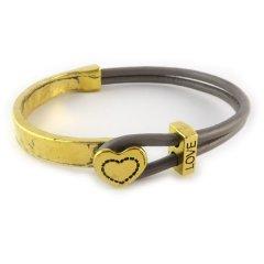 love armband goud taupe grey brown hart