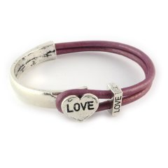 love armband metallic roze hart love