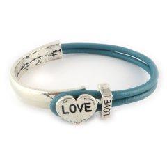 Love armband petrol blue hart love