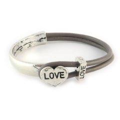 Love armband taupe grey hart love