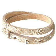 Smalle armband snake metallic khaki brown dubbel