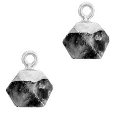 Natuurstenen bedel kleur antracite silver vorm hexagon