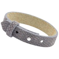Brede armband reptile donkergrijs