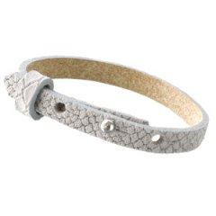 Smalle armband reptile lichtgrijs