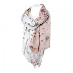 Sjaal sterren wit roze
