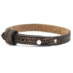 Smalle armband leer kleur brown gold