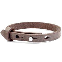 Smalle leren armband kleur graphite brown