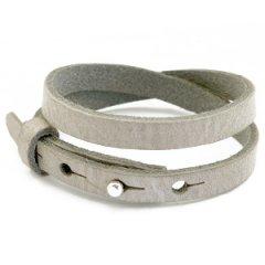 smalle leren armband kleur neutral grey dubbel