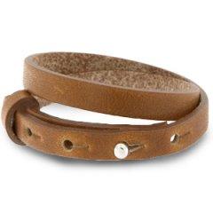 Smalle leren dubbele armband kleur saddle brown