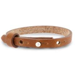 Smalle leren armband kleur saddle brown