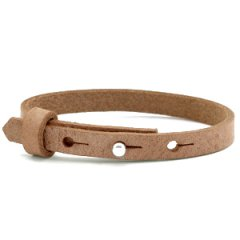 Smalle leren armband kleur toasted brown