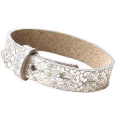 Brede armband snake metallic greige