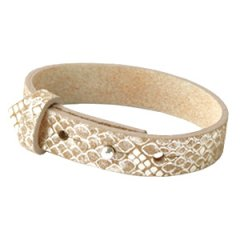 Brede armband snake metallic khaki brown