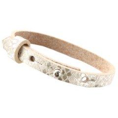 Smalle armband snake metallic white grey