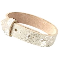 brede armband snake metallic white grey